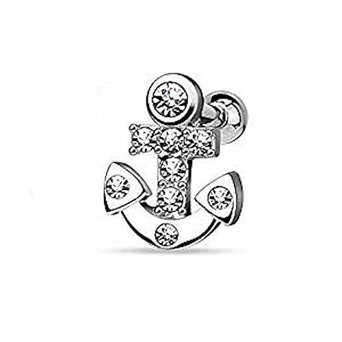 1 x Clear Crystal verkrustet Nautical Sailor Anchor Tragus oder Knorpel Piercing. Dicke: 1,2mm Länge: 6mm Ball Größe: 3mm Material: Chirurgischer Stahl Überzug: (Kostüme Mann Sailor)