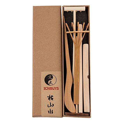 ICNBUYS-Professionelle-Mini-Zen-Garten-Tools-Set-drei-Rechen-One-Bambus-Tuschefller-One-Schieben-Sand-Pen