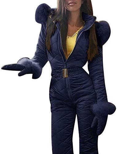 Genlesh Donna Tuta da Sci, Donna Inverno Caldo Tuta da Sci Outdoor Sports Pantaloni Tuta da Sci Impermeabile Tuta Intera - Blu, Medium
