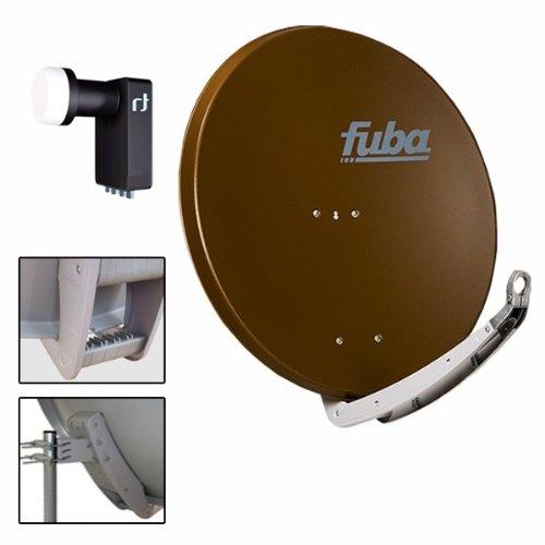Antenne Fuba 74x84 cm Alu Braun DAA 780 B + LNB Quad 0,2 dB Inverto Black Ultra