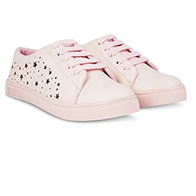 Blinder Pink and White Women's Casual Sneakers Shoes