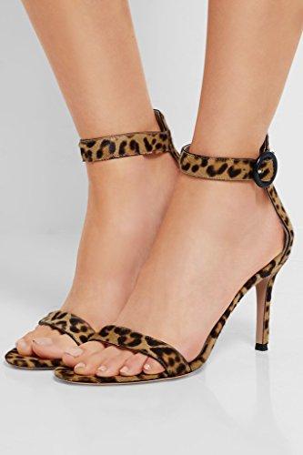 EDEFS Damen Peep Toe 80mm High Heel Sandalen mit Schnalle Sommer Stilettsandalen Knöchelriemchen Schuhe Leopard