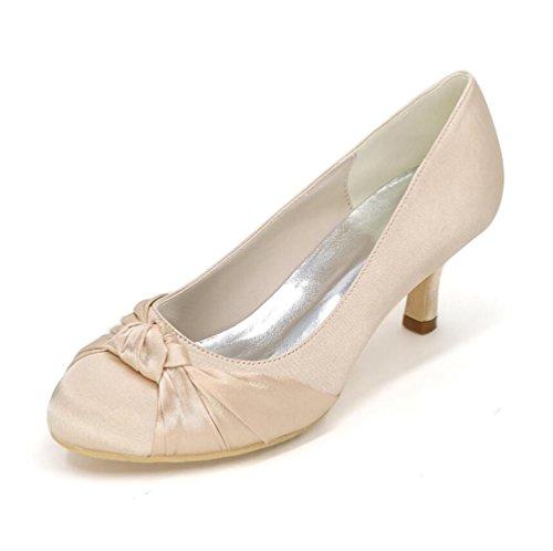 Ei&iLI Scarpe da sposa in raso Women 's con il vestito Mid-tacco scarpe partito della damigella d'onore EU35-EU42 Gold