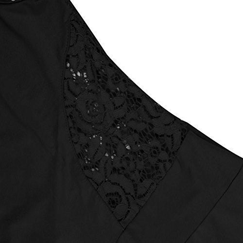 Eleery Robe Femme Maxi Longue Dentelle Sans Manches Taille Haute Imprimé Fleur Floral Mince Plaine Casual Cocktail Soirée Plage Noir