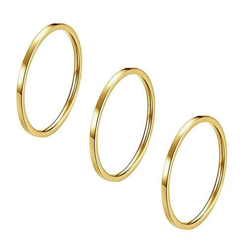Ring Set einfache Hochzeit Paare Ringe feine Glatte Titan Stahl Ring Zubehör Jubiläum Ring Set 1 Satz, Titan Stahl, Golden 6 ()