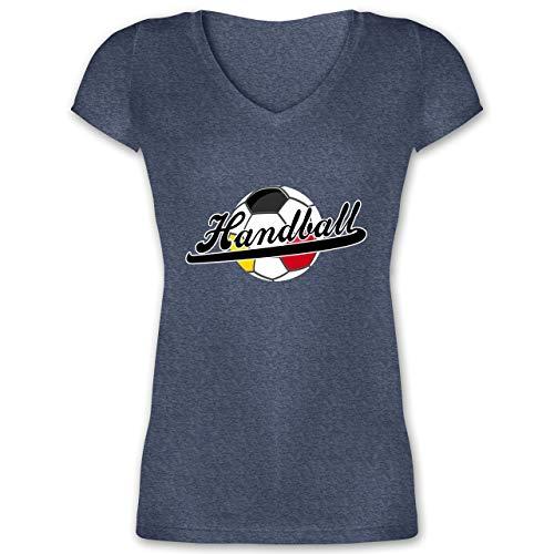 Handball WM 2019 - Handball Deutschland - M - Dunkelblau meliert - XO1525 - Damen T-Shirt mit V-Ausschnitt