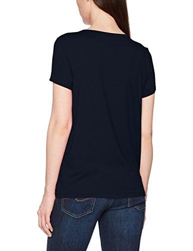 TOM TAILOR Damen Fabric Mix Pleat T-Shirt Blau (Real Navy Blue 6593)
