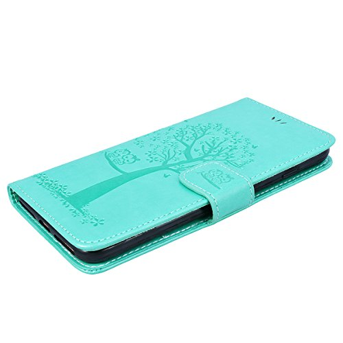 Yokata Coque iPhone 8 Plus (5.5 inch) Etui Cuir Rabat PU Motif Hibou Arbre Fente Carte Wallet Case de Carte Slots Flip Cover Fermeture Magneique Fonction Support Antichoc Interne Silicone Souple Houss Vert