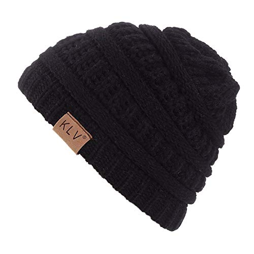 euwanyu 2019 Hot!!! Unisex Winter Beanie Hat Scarf Set Warm Knit Hat Thick Knit Beanie Stars Skull Cap for Men Women (Black 1) (One Size)