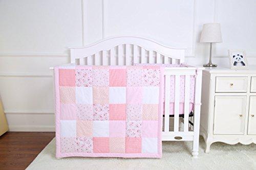 4Stück Kinderzimmer Baby Comfort Bettwäsche-Set für Babybett inkl. Steppdecke Kissen Nestchen und Spannbetttuch Pink (Mädchen Gesteppte Bettwäsche)