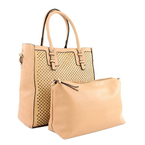 Damentasche Handtasche Tasche Tragetasche Lederimitat Kunstleder LK138047 Beige