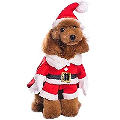 FEESHOW Dog Cat Christmas Santa Claus Costume Pet Fancy Dress Coats Jacket Apparel Outfits