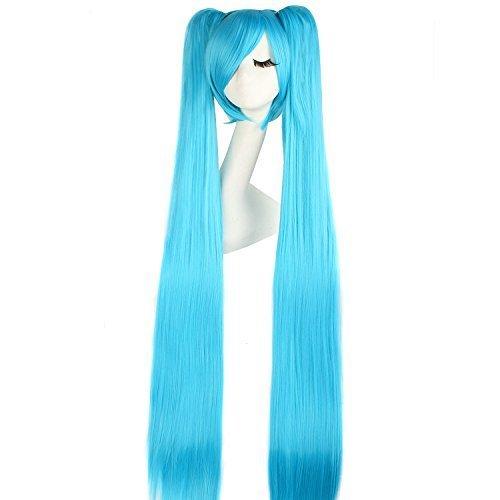 MapofBeauty 120cm/47 Pouce Longue Droit Tressé Femmes Tressé Perruques (Bleu)