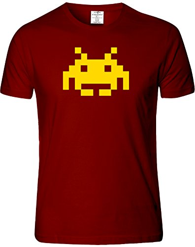 Space Invader Mens T-Shirt, Burgundy - S to XXL