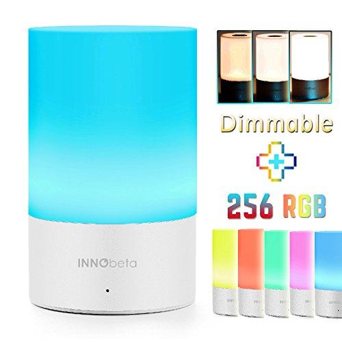 Lampada da Comodino - InnoBeta luce di umore con Regolabile luce bianca calda + 256 RGB luci multicolori - Ricaricabile, Portatile e Colore del LED che cambia con borsa da viaggio