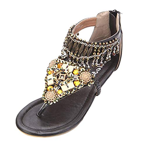 MEIbax Damen Böhmen Clip Toe Flip Flops Boho Kristall Perlen Low Wedge Strand Sandalen Pantoletten Slipper Hausschuhe Sandaletten -