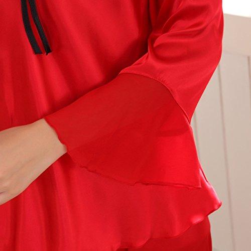 Pigiama A Maniche Lunghe In Raso Delle Donne Con Cintura In Cotone A 2 Pezzi Red