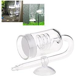 Daxibb Válvula de retención del difusor de CO2 del Acuario de Dabixx Válvula de aspiración del Tubo de Cristal de la Forma de U para el Tubo