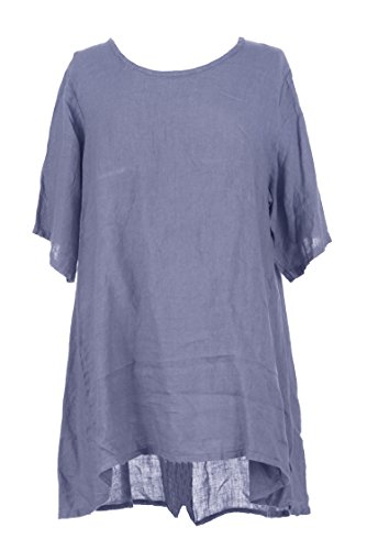 Mesdames Womens Lagenlook italienne excentrique Short Sleeve demi bouton dos plaine tunique lin robe One Size UK 12-16 Bleuet