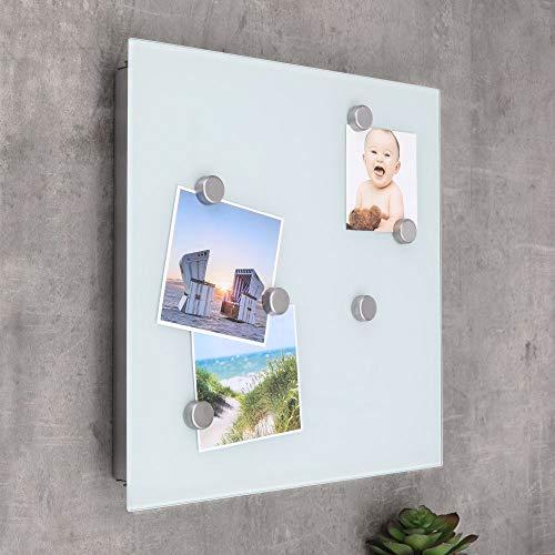 designfun SCHLÜSSELKASTEN MIT Glas-MAGNETTAFEL 32 x 32 x 4 cm - MILCHGLAS