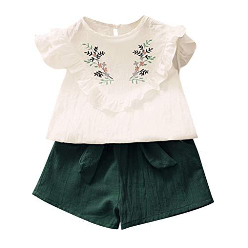 Pwtchenty Prinzessin Kleid Baby Mädchen Rock Damen Kurzer 2019 Stickerei T-Shirt Tops Weste + Shorts Hosen Outfit Kleiderset