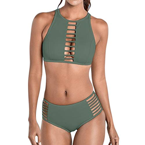 ❤Loveso❤ Fashion Damen Bademode Push Up Bikini Set Zweiteilige Badeanzug Strandkleidung Neckholder Oberteil Bandeau Strandmode Sport Split Blumen Bikinihose -