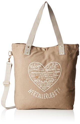 Adelheid Damen Herzallerliebst Einkaufstasche Shopper, Braun (Taupe 366 366), 44x39x10 cm