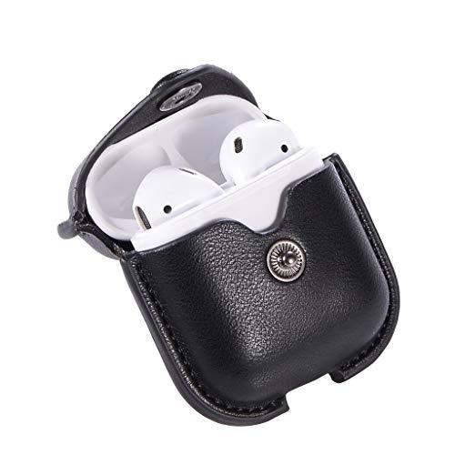 htfrgeds Leder Mini Kopfhörer Tasche mit Schnalle, Headset ohrhörer Schutztasche Macarons Farbe für In Ear Ohrhörer Für Apple AirPod 2/1 (Schwarz) - Für Ohrhörer Apple Farbe