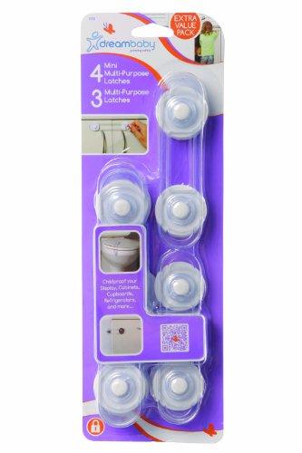 dreambaby-3-multi-purpose-and-4-mini-multi-purpose-latches-value-pack-transparent