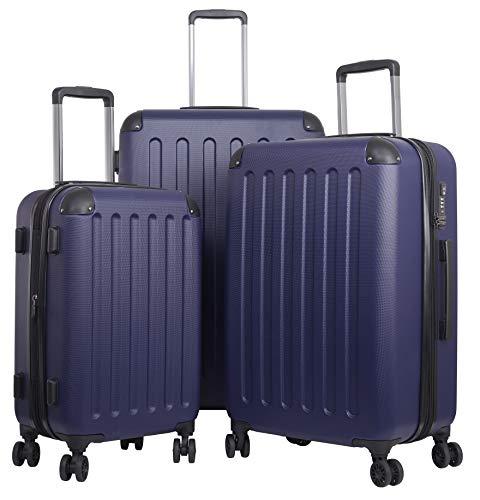 TRAVELWOLF Reisekoffer Deluxe 2.0 Gepäckset mit 3 Hartschalen-Koffer, Trolley mit TSA-Schloß, Zwillingsrollen, Größen M-L-XL - Set Tsa-schloss