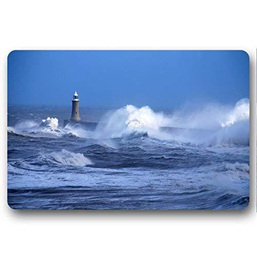 lijied Home&Apron Beacon Sea Ocean Storm Waves Blows Wind Bad Weather Rubber Door Mat for Indoor,Kitchen,Bathroom,Living Room Non-Slip Rug Doormat 23.6 X 15.7 Inch Area Rugs Outside Door mats -