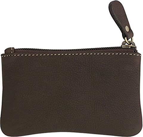 Leather Coin Purse Change Wallet Card Case Small Zip Bag For Men Women (Chocolate)