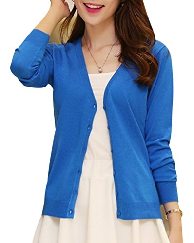 Yasong Women Girls Long Sleeve Knitwear Cardigan Blue UK 8