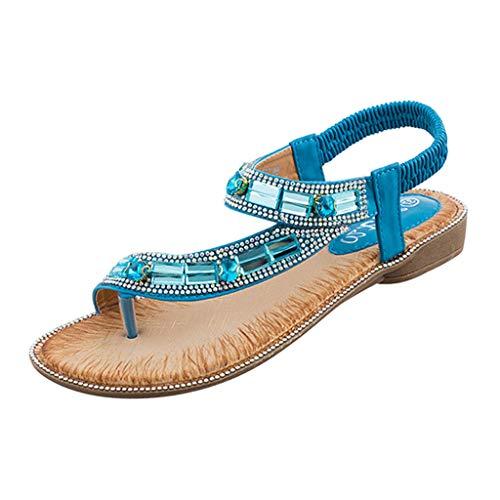 TWISFER Damen Sommer Sandalen Bohemian Strass Flach Sandaletten Sommer Strand Schuhe mit Strandschuhen öffnen Zehensommer römische Sandalen
