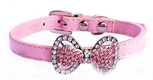 r Katze Hund Bogen Krawatte Halsband Halskette Schmuck Weiblich Welpen Chihuahua Yorkie Mädchen Kostüm Outfits (XS, Rosa) (Welpen-kostüm Für Mädchen)