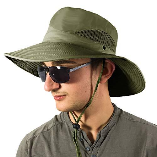 446d7286e TOSKATOK® Unisex Hombre Señoras Ligera Plegable Malla Transpirable Brim  Outback Summer Safari Hat Gorra con Correa de Barbilla Ajustable para ...
