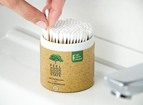 200 Wattestäbchen aus Holz von Feel Good State | im praktischen Spender | 100% biologisch abbaubar, nachhaltig und plastikfrei - 6