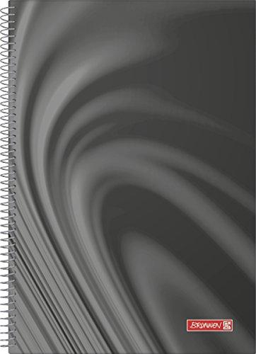 Brunnen 106793490 Collegebuch / Spiralnotizbuch Vivendi (A4, kariert, 90 g/m², 100 Blatt) schwarz
