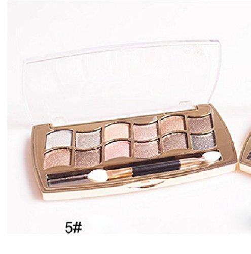 Internet 12 couleurs femmes Pro Shimmer Eyeshadow Palette & brosse cosmétiques maquillage Set 5#