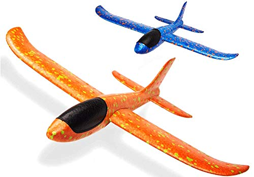 """FunBlast Airplane Toy Set of 2 - 17.5"""" Large Throwing Foam Plane, Dual Flight Mode, Aeroplane Gliders, Flying Aircraft, Gifts for Kids, 3-10 Year Old Boy