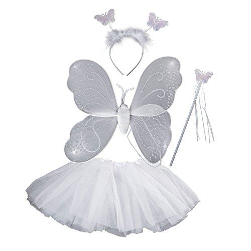 Schmetterlings Feen Engel Flügel Kostüm Tutu Weiss Ideal für ()