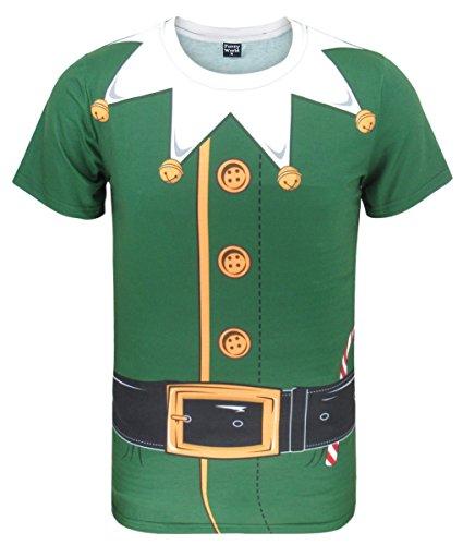 COSAVOROCK T-Shirts Costume da Natale Elfo Uomo (XXL, Verde-2)