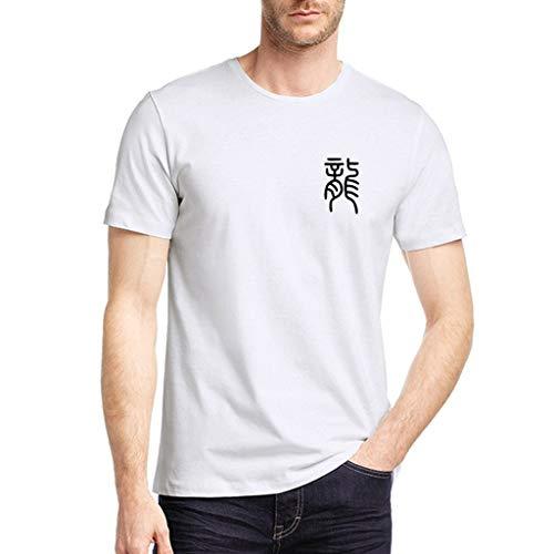 Yvelands HerrenT-Shirt Toronto Raptors Reine Farben-Drache druckte Muster-beiläufiges Art- und Weiserevers kurzes Hülsen-Hemd(Weiß10,XXXL)