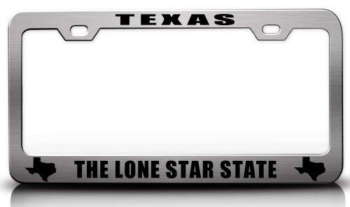 Texas die Lone Star State Texas Karte Stil Stahl Metall Nummernschild Rahmen CH # 20 - Usa Aus Texas State Karte