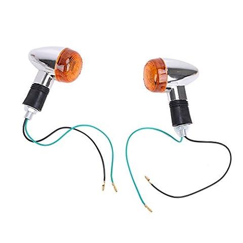 1paire de clignotant supplémentaire lumière chrome fumé Bullet LED Turn Signal Indicator Light pour Harley Custom Cafe Racer
