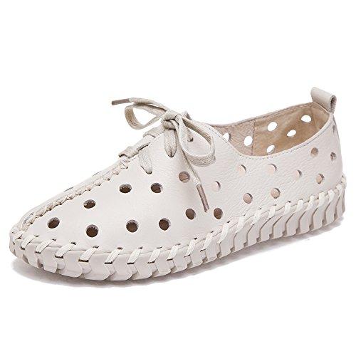 Shenn Damen Hohl Freizeit Niedrige Ferse Komfort Intelligent Leather Sneaker Schuhe 2709-2(Weiß,EU39)