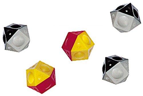 Tipp Kick 016053 - Ersatzbälle 5er, 12 eckig, schwarz - weiß und rot - gelb