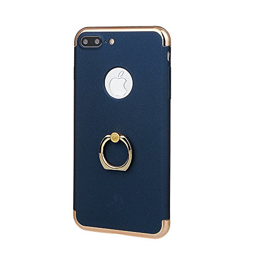 """xhorizon TM FM8 3 in 1 Ultra Thin Hard Protective Stylish Case Case for iPhone 7 Plus [5.5""""] with 360 Degree Rotating Ring Kickstand with a 9H Tempered Glass Film blau+9H Tempered Glass Film"""