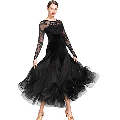 Wangmei Nationale Standard Tanzkleider für Frauen Wettbewerb Performance Kostüm Samt Spitze Nähen Ballsaal Moderner Tango Soziales Kleid Tüllrock, XL (Rock Spitze Schleier Tanz Kostüm)