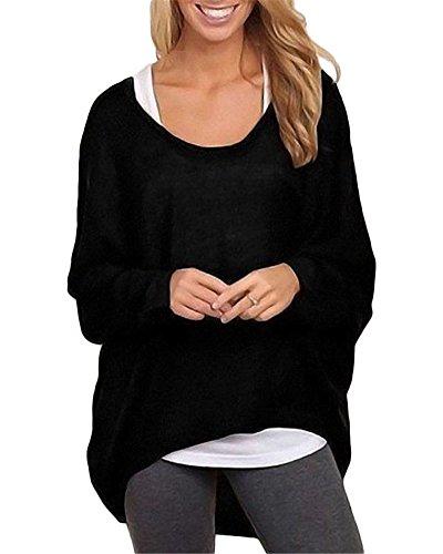 Femme Lâché T-shirt Baggy Casual Col Rond Manches Longues Pullover Hauts Lâche Blouse Irréguliers Tops Noir